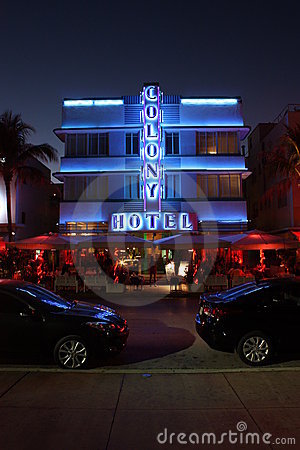 Colony Hotel at night Editorial Photo