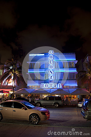 Colony Hotel at the Ocean Drive in Miami Beach at night Editorial Stock Photo