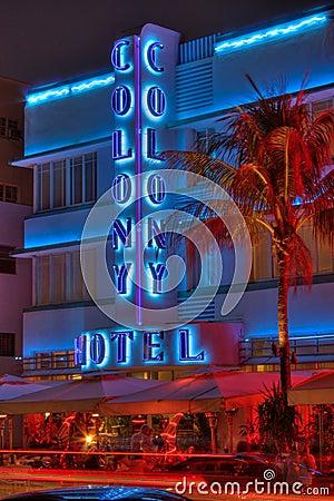 Colony Hotel South Beach Miami Editorial Stock Photo