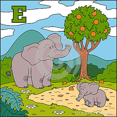 Color alphabet for children: letter E (elephant) Vector Illustration