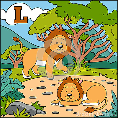 Color alphabet for children: letter L (lion) Vector Illustration