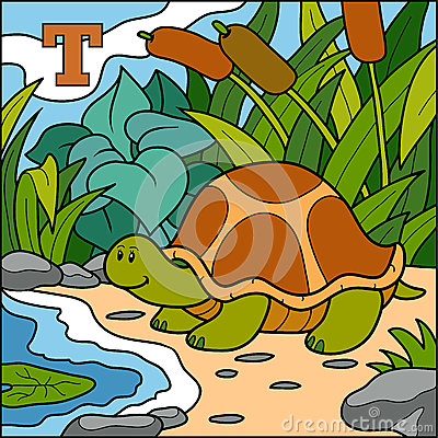 Color alphabet for children: letter T (turtle) Vector Illustration