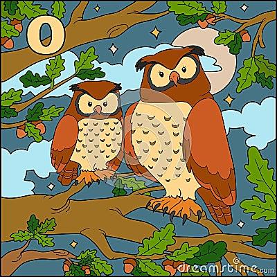 Color alphabet: letter O (owl) Vector Illustration