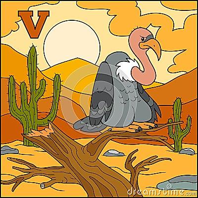 Color alphabet: letter V (vulture) Vector Illustration