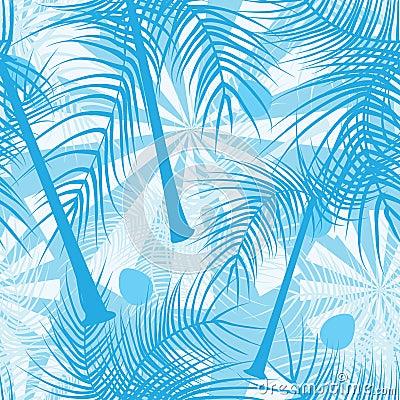 Color azul Pattern_eps inconsútil de los árboles de coco