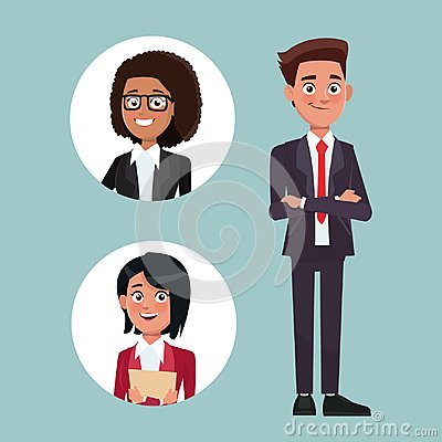 Free Color Background With Executive Man With Formal Suit And Circular Frame With Woman Characters For Business Stock Photography - 110796692