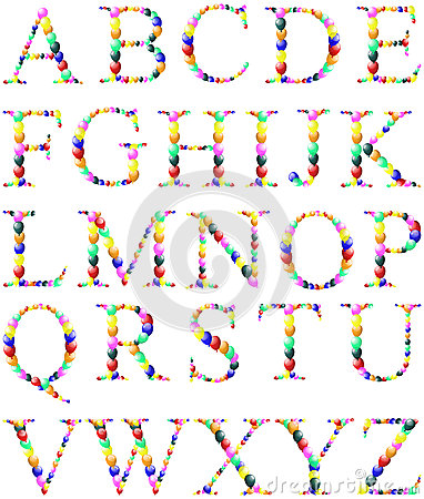 Color balloon alphabets letter set