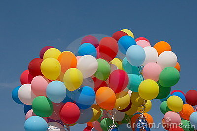 Color balloons in deep blue sky 1