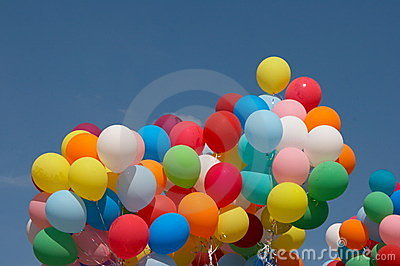Color balloons in deep blue sky 3