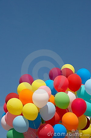 Color balloons in deep blue sky 4
