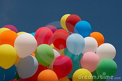 Color balloons in deep blue sky 6