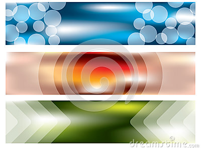 Banner set of three with cool effects