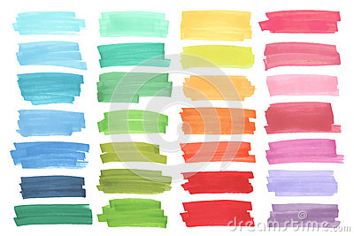 Color banners drawn with japan markers. Stylish elements for design. Vector marker stroke Vector Illustration