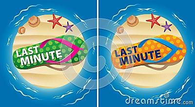 Color beach flip with word last minute on sand island