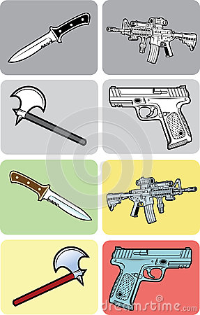 Color, Black and White Weapon Illustrations