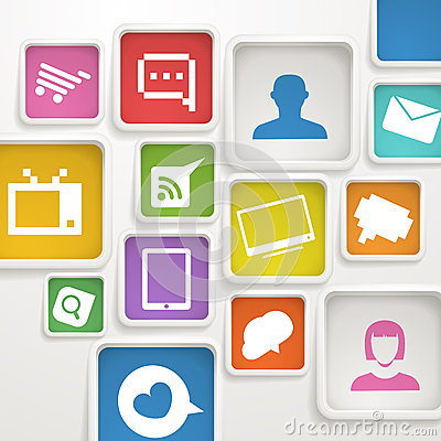 Color boxes with media icons