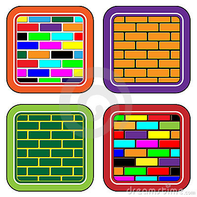 Color brick buttons for web devices and the inter