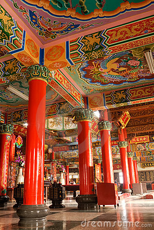 Color building interior of classic Chinese temple