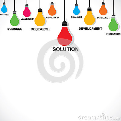 Color bulb with business word