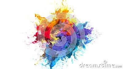 Color burst iridescent multicolored rainbow powder explosion fluid ink particles. Color burst iridescent multicolored colorful rainbow smoke powder explosion stock illustration