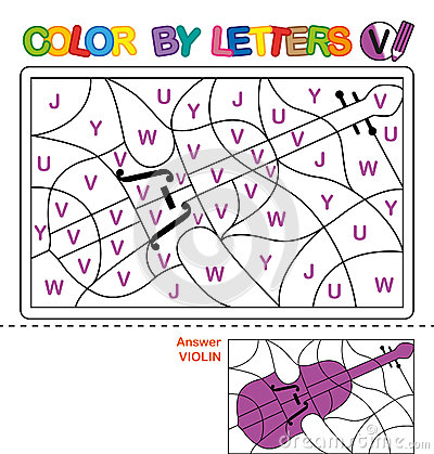Free Color By Letters. Learning The Capital Letters Of The Alphabet. Puzzle For Children. Letter V. Violin. Preschool Education. Stock Image - 91243551