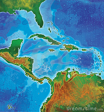 Color caribbean islands map