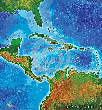 Color caribbean islands map