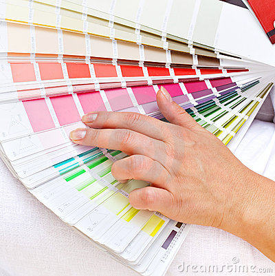 Color chart and woman hand