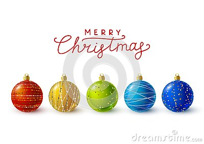 Color Christmas balls with golden decorations Vector Illustration