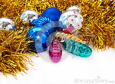 Color Christmas balls and toys background