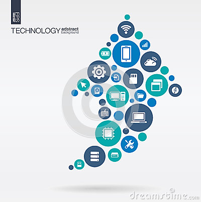 Color circles, flat icons in arrow up shape: technology, cloud computing, digital concept. Vector Illustration
