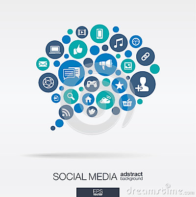 Free Color Circles, Flat Icons In A Speech Bubble Shape: Technology, Social Media, Network, Computer Concept. Abstract Background Royalty Free Stock Photography - 55855187