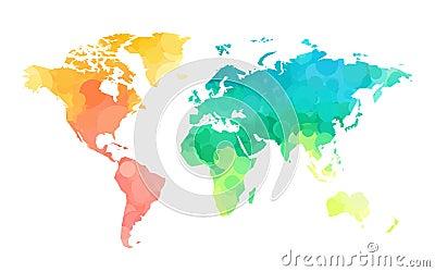 Color circles world map pattern Vector Illustration