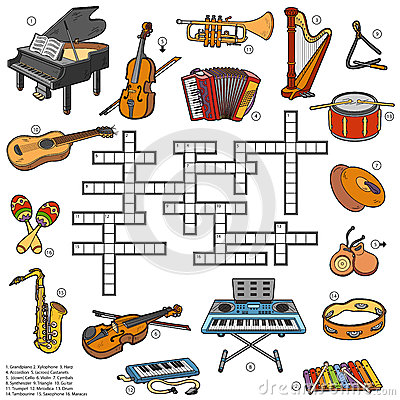 Color crossword about music instruments Vector Illustration