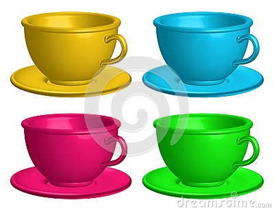 Color cups isolated