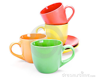 Color cups isolated on white