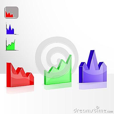 Color 3D chart  vector