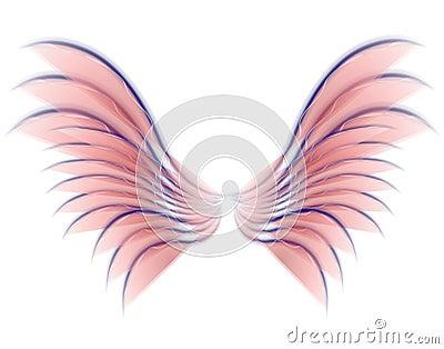 Color de rosa de las alas del pájaro o de la hada del ángel