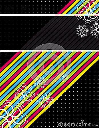 Color diagonals over black background