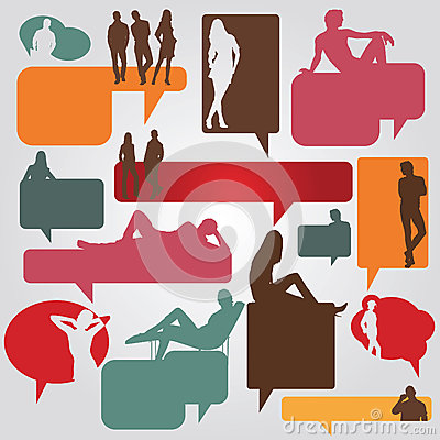 Color dialog bubbles with silhouettes of people