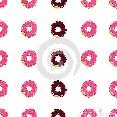 Color donut seamless pattern Glazed donuts background Vector illustration Cartoon Illustration