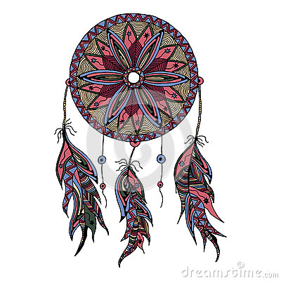 Color dream catcher with feathers style zentangle and doodle hand