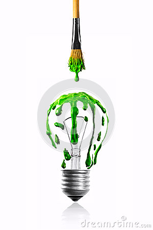 Color dripping from paintbrush to light bulb