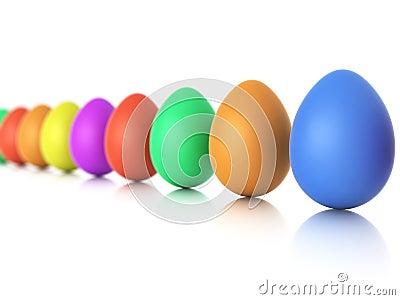 Color easter eggs closeup