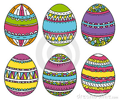 Color easter eggs, vector illustration