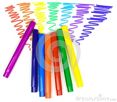Color Felt tip Pens On A Background Royalty Free Stock Photo Image
