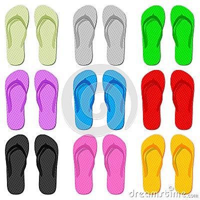 Color flip flop Vector Illustration