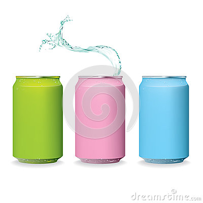 Color fresh Can and water splash isolate