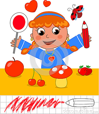 Color game: girl with red objects