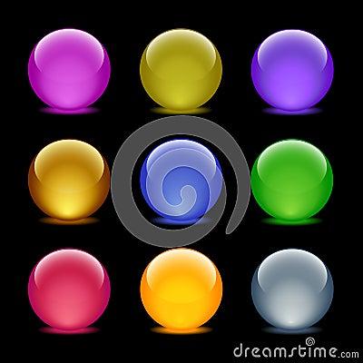 Color glass ball web icons, set 35